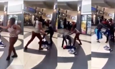Lady drops her baby to assault her partner in a mall (video)