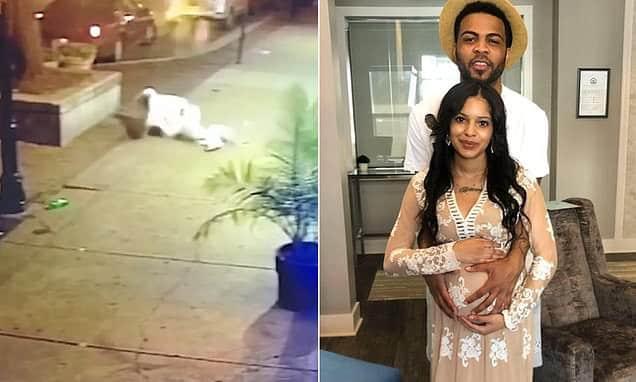 Man shields girlfriend from attack as gunman opens fire in unseen footage