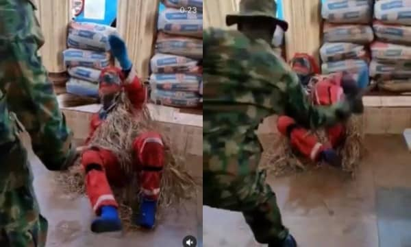 Masquerade begs for mercy while being flogged by a soldier (video)