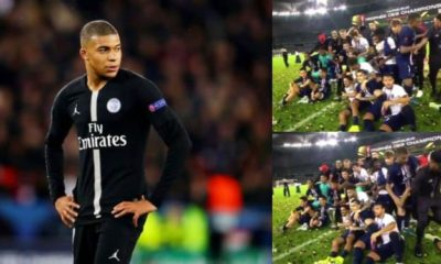 Mbappe pushes Neymar away in PSG trophy celebration (video)