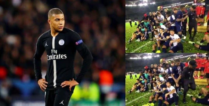 Mbappe pushes Neymar away in PSG trophy celebration (video)