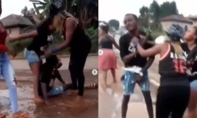 Three female friends beat up a man secretly dating all of them (video)