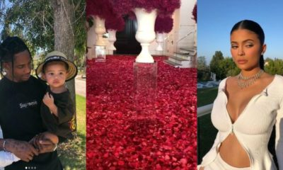 Travis Scott showers Kylie Jenner with a room full of roses ahead of her 22nd birthday (video)
