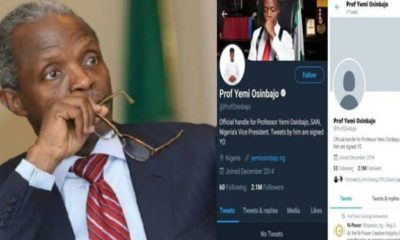 Twitter unverifies VP Yemi Osinbajo's account, deletes 2,399 tweets