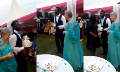 Young man dances joyfully as he marries an elderly white woman (video)