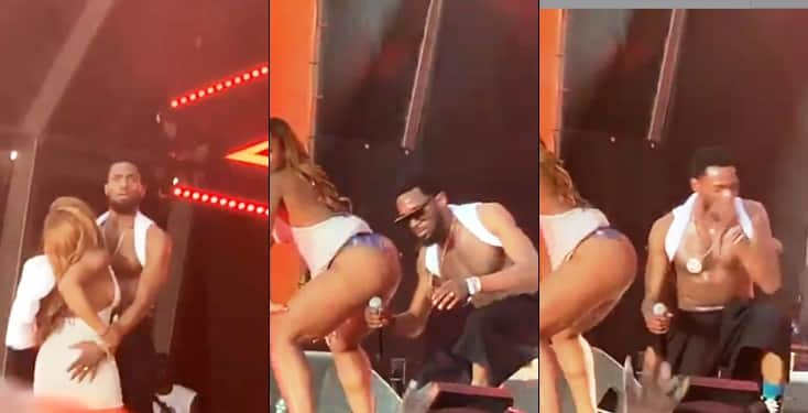Lady flashes her panties while twerking  for D'banj