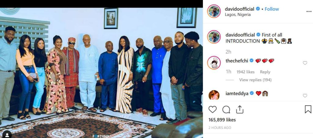 Davido set to wed Chioma, shares photo from their marriage introduction