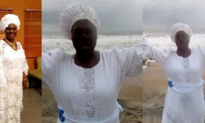 Actress, Iya Rainbow dresses in a white garment to pray for Nigeria (Video)