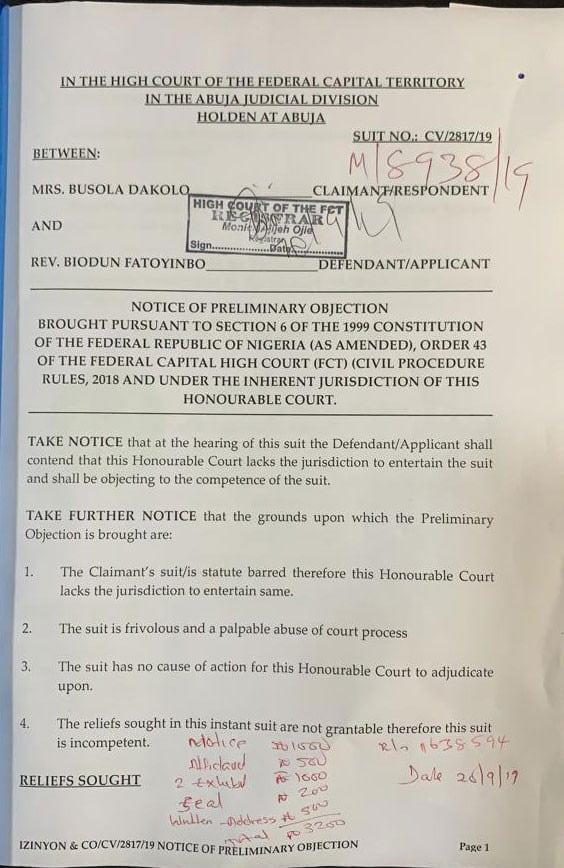 Alleged Rape: Pastor Fatoyinbo demands ₦50 million from Busola Dakolo