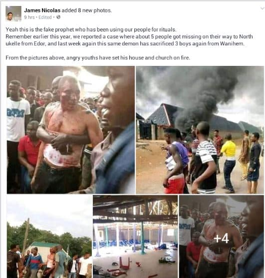 Angry youths beat up pastor for allegedly using people for rituals (photos)