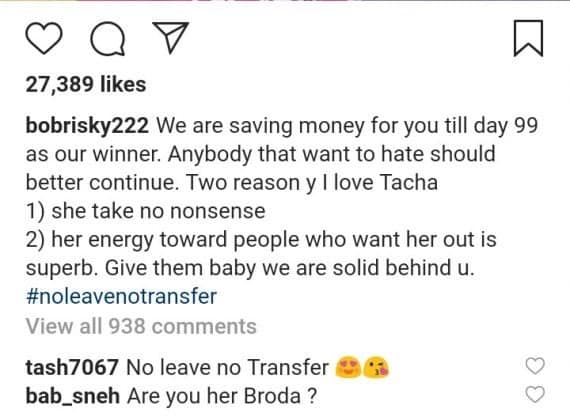 BBNaija 2019: Bobrisky reveals why he supports Tacha