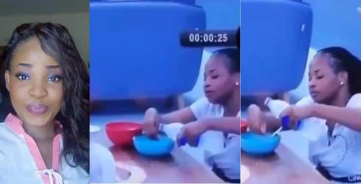 BBNaija 2019: Cindy seen washing her hand in her food bowl (video)