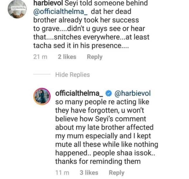 BBNaija: Thelma mocks Seyi, applauds Tacha for putting him in his rightful place