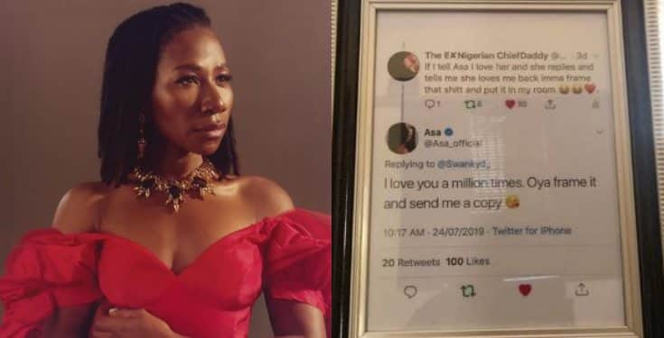 Between Asa and a fan who framed her Twitter reply