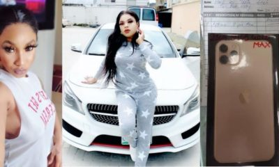 Bobrisky reacts as Tonto Dikeh gifts him new iPhone 11 Pro