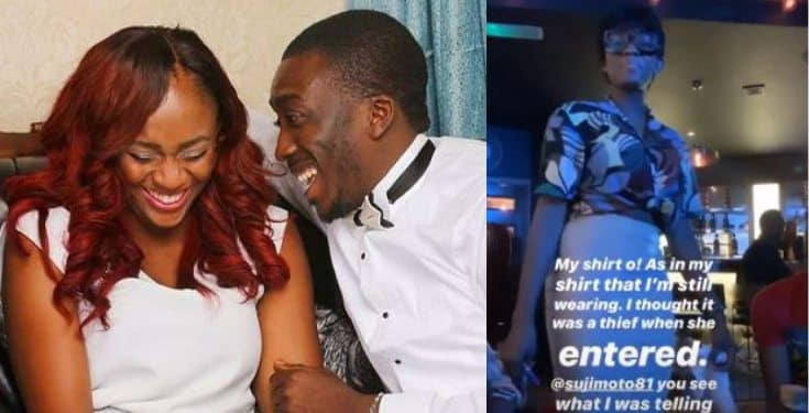 Bovi cries out as his wife, Kris steps out in his shirt
