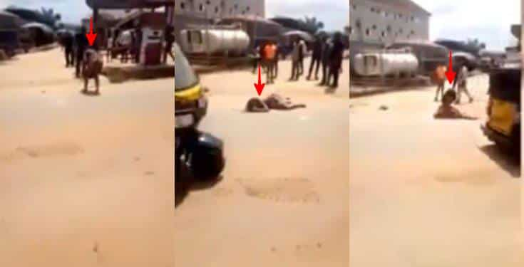 Lady allegedly runs mad after alighting from a car in Anambra state (video)