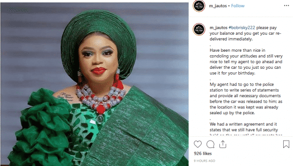 Lagos car dealer seizes Bobrisky car over unpaid balance
