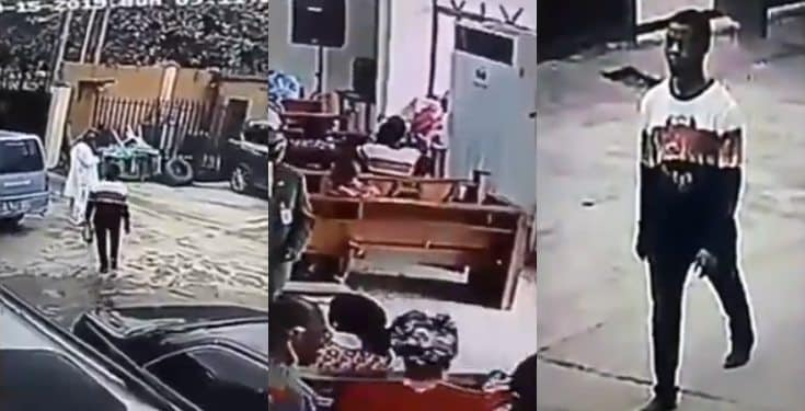Man walks into a church and stole a bag during service (video)