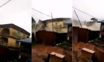 Many escape death as building collapses during a downpour in Anambra State (video)