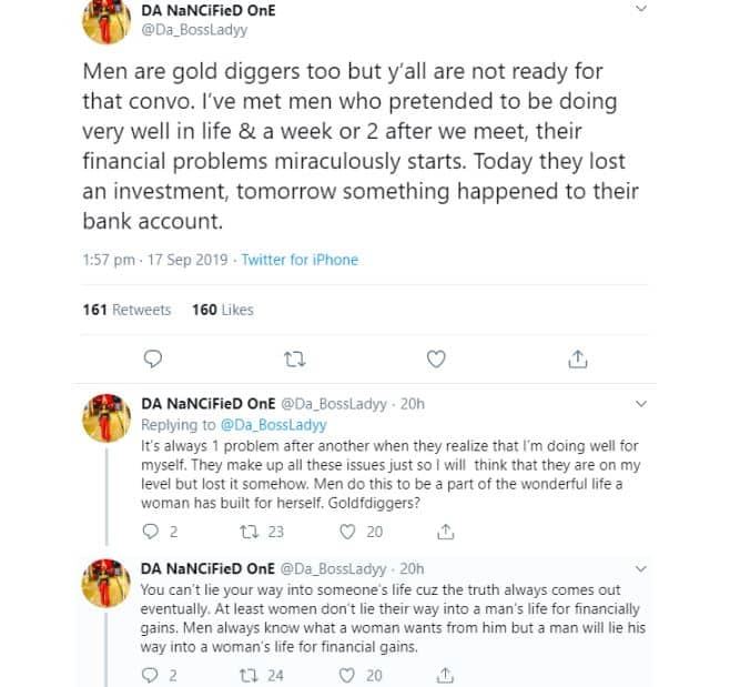 """Men are gold diggers too"" - Nigerian lady shares her experience"