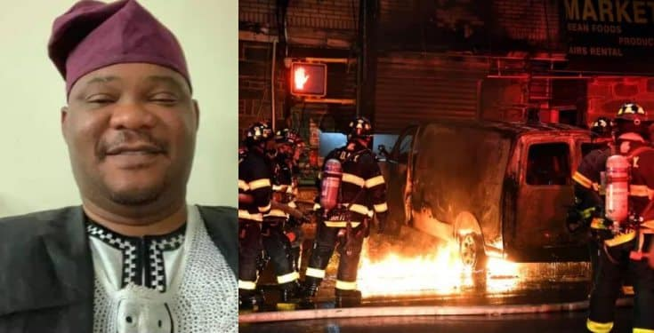 Nigerian man intentionally drives van into ex-wife's house, causing fire (photos)