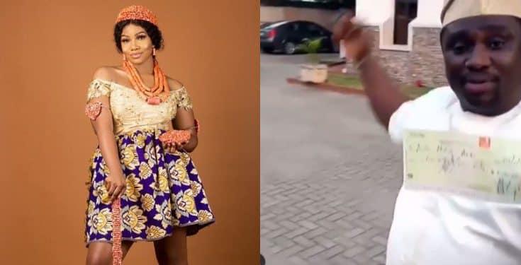 Man offers Tacha ₦5 million cheque as he mocks Peter Okoye, and Jaruma (video)