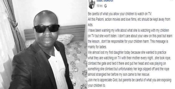 Nigerian man reveals how his little daughter almost died while practicing what she saw on TV