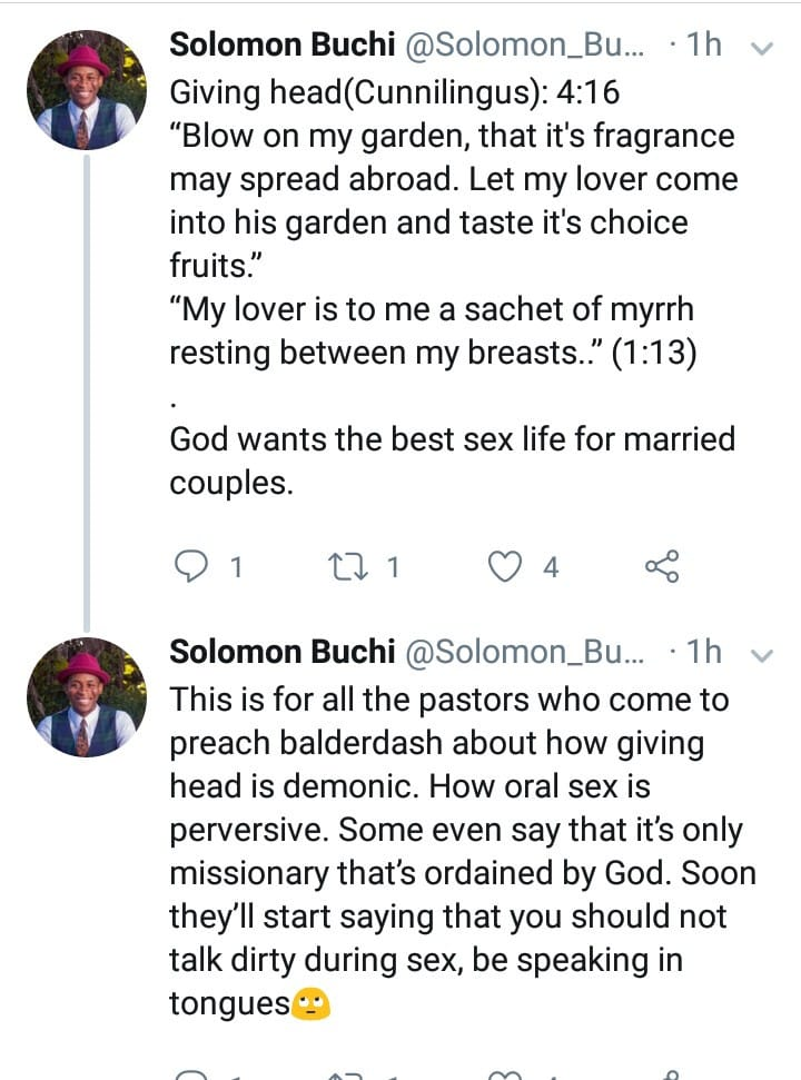 "Nigerian man says ""fingering and giving head is biblical"""