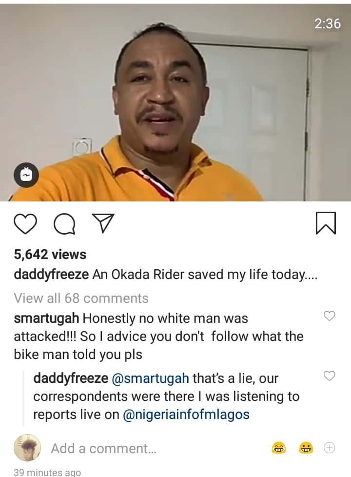 """Xenophobia: Daddy Freeze narrowly escapes death as protesters in Lagos """"attack white men"""