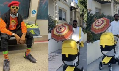 """Back on my daddy duties"" - D'banj enjoys a stroll with his newborn baby (Video)"