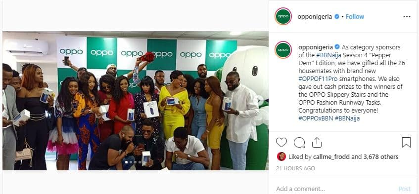 BBNaija: Ex-housemates receive smartphones from OPPO Nigeria (Photos)