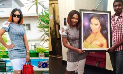 BBNaija: Man presents impressive portrait painting to Mercy Eke
