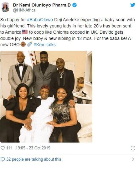 Davido's father is expecting child with young girlfriend – Kemi Olunloyo