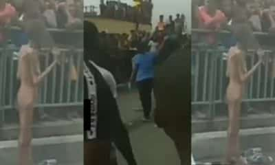 Young lady reduces in size after alighting from a car in Ajah (video)