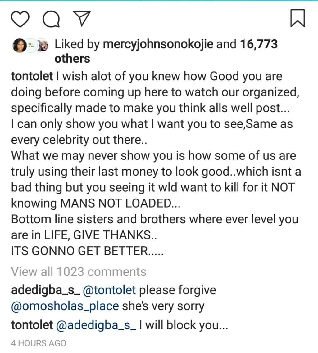 Actress Tonto Dikeh reveals that she's living a fake life