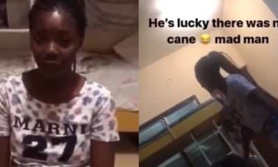 Lady beats up boyfriend with bathroom slippers for cheating on her (Video)