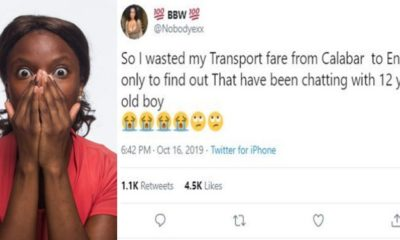 Lady recounts how she left Calabar for Enugu to find out she's been chatting with 12-year-old boy