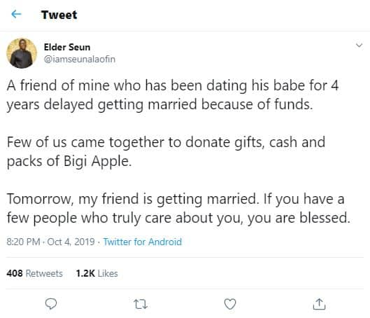 Man narrates how they contributed money so that their friend could get married