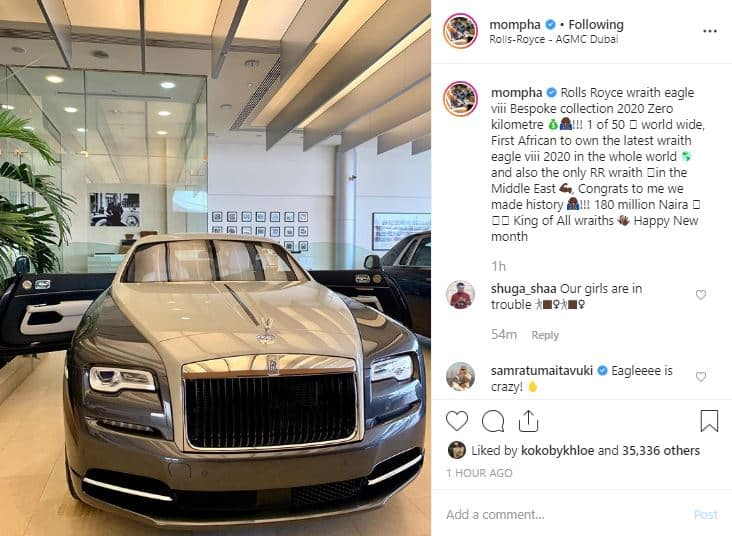 Mompha emerges the first African to own the 2020 Rolls Royce Wraith Eagle VIII