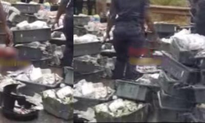 Money scattered after Bank's bullion van collided with a tanker (video)