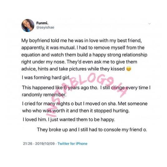 Nigerian lady narrates how she let her boyfriend date her bestfriend 1