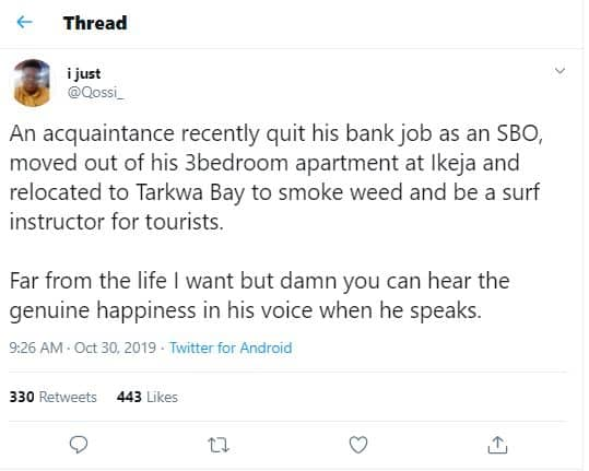 Nigerian man quits his bank job for a life by the beach side