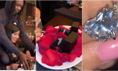 Offset surprises Cardi B with a huge diamond ring on her birthday (Video)