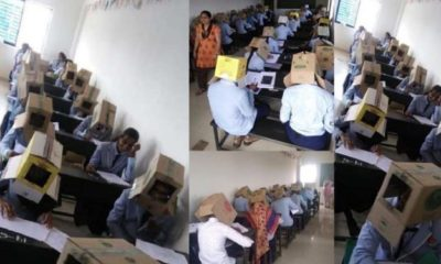 School makes students wear cardboard boxes to prevent exam malpractice