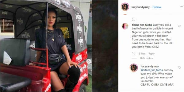 Singer Lucy blasted by Tacha's fan over her raunchy photos
