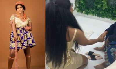 Tacha on her knees as elderly woman prays for her (Video)