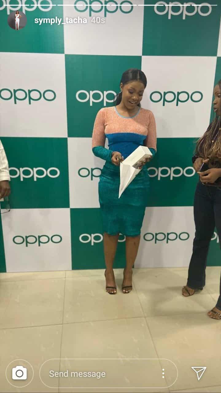 #BBNaija: Oppo Mobile finally gifts Tacha her phone