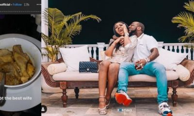 'I got the best wife' – Davido says as he shares photo of chicken pepper soup Chioma made