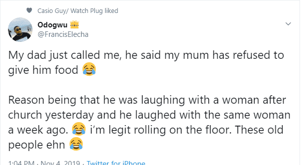 Wife refuses to give husband food for laughing with another woman